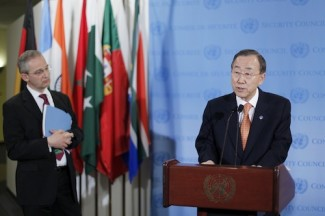 SG Ban Ki-moon addresses the press following Security Council consultations on the Middle East.