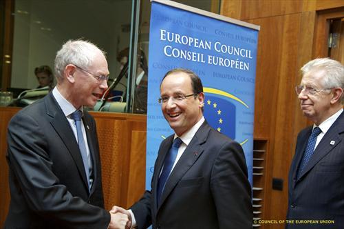 Rompuy-Hollande-Monti - source European Council