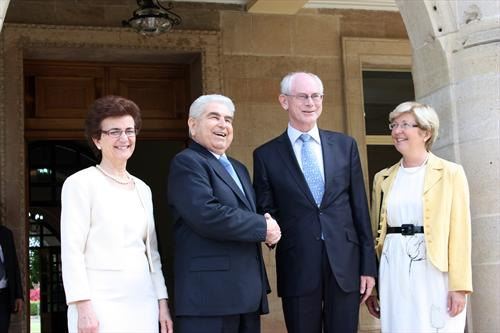 Rompuy in Cyprus - source European Council