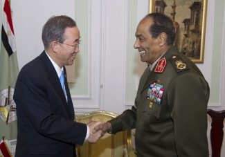 Secretary General meeting with Field Marshall Mohamed Hussein Tantawi, Head of the Supreme Council of the Armed Forces.