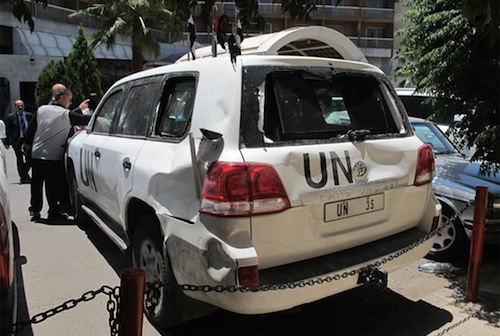 UN car damaged El Hafeh Syria - source UN