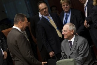 Stournaras Schauble Eurogroup - source European Council