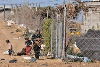 Gaza family collects wood - source UNRWA
