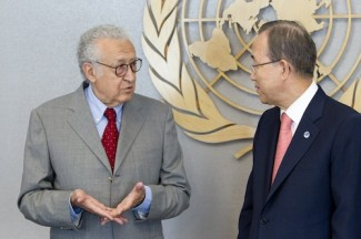 The Secretary-General with Mr. Lakhdar Brahimi, newly-appointed Joint Special Representative of the United Nations and the League of Arab States for Syria.