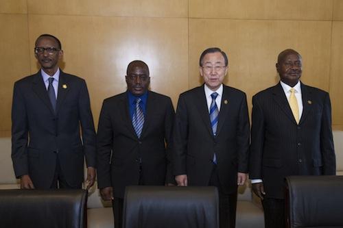 Ban Ki-moon with leaders Rwanda-Congo-Ethiopia - UN