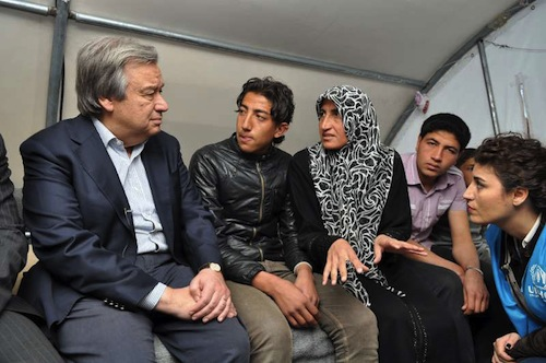 Syrian refugees with Guterres - UNHCR