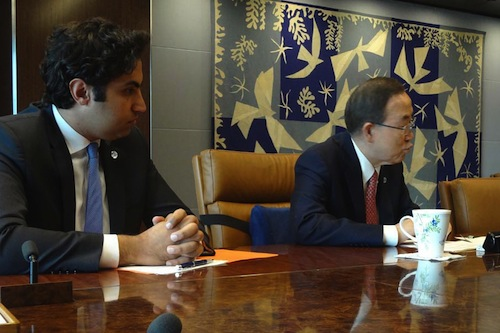 Ban Ki-moon and Youth Envoy Ahmand Alhendawi - UN