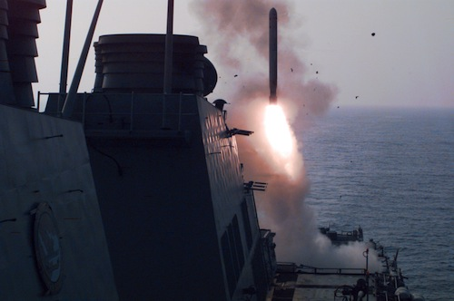 U.S. Navy War Ships Launch Cruise Missiles on Iraq
